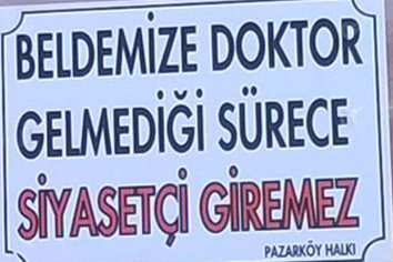 Pazarköy halkından pankartlı doktor tepkisi